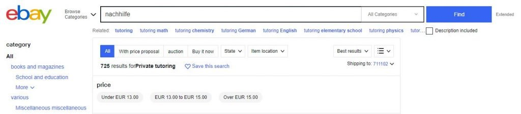 How to find part time jobs in Germany on ebay